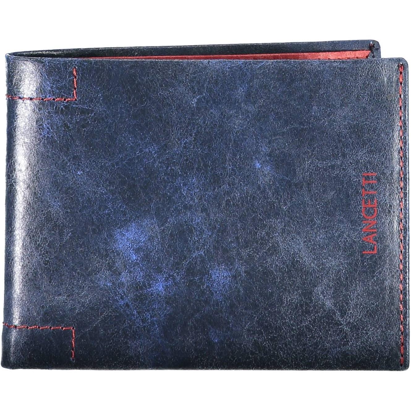 Ανδρικό δερμάτινο πορτοφόλι μπλε
