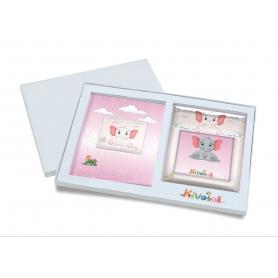 Ασημένιο σετ δώρου κορνίζα και άλμπουμ 915 ελεφαντάκι 15X15 για κορίτσι