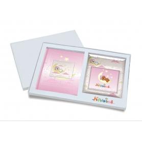 Ασημένιο σετ δώρου κορνίζα και άλμπουμ 916 φεγγαράκι 15X15 για κορίτσι