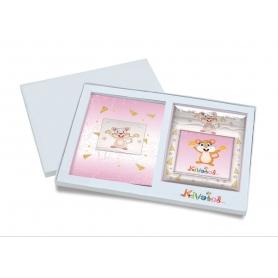 Ασημένιο σετ δώρου κορνίζα και άλμπουμ 921 ποντικάκι 15X15 για κορίτσι