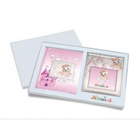 Ασημένιο σετ δώρου κορνίζα και άλμπουμ 922 πριγκίπισσα 15X15 για κορίτσι