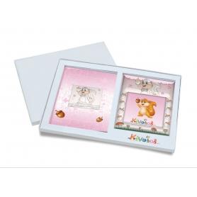 Ασημένιο σετ δώρου κορνίζα και άλμπουμ 922 σκιουράκι 15X15 για κορίτσι
