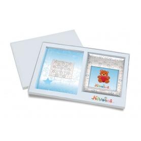 Ασημένιο σετ δώρου κορνίζα και άλμπουμ 914 αρκουδάκι 10X10 για αγόρι