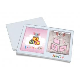 Ασημένιο σετ δώρου κορνίζα και άλμπουμ 918 ABC 19.3X25 για κορίτσι