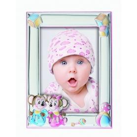 Ασημένια παιδική κορνίζα MA/131-BR 13x18 cm ροζ