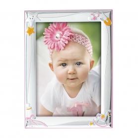 Ασημένια παιδική κορνίζα MA/127-DR 9x13 cm ροζ