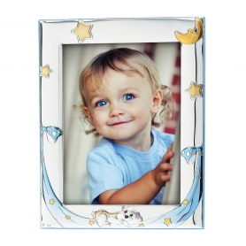Ασημένια παιδική κορνίζα MA/128-CC 10x15 cm γαλάζιο