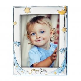 Ασημένια παιδική κορνίζα MA/128-FC 15x20 cm γαλάζιο