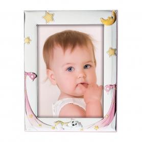 Ασημένια παιδική κορνίζα MA/128-CR 10x15 cm ροζ