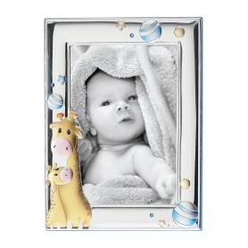 Ασημένια παιδική κορνίζα MΑ/129-DC 9x13 cm γαλάζιο