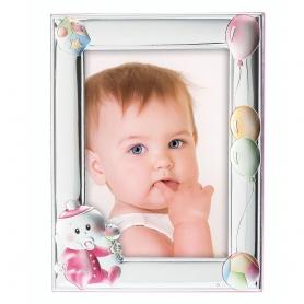Ασημένια παιδική κορνίζα MA/130-DR 9x13 cm ροζ