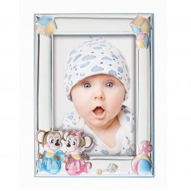 Ασημένια παιδική κορνίζα MA/131-DC 9x13 cm γαλάζιο