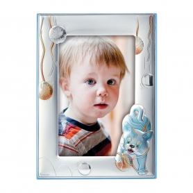 Ασημένια παιδική κορνίζα MA/134-DC 9x13 cm γαλάζιο