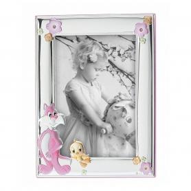 Ασημένια παιδική κορνίζα MA/132-BR 13x18 cm ροζ