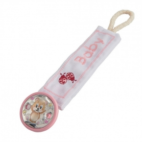 Βρεφικό κλιπ για πιπίλα με ασήμι ροζ MA/PY001-LR