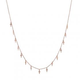 Ασημένιο κολιέ κρεμαστά σταυρουδάκια ροζ χρυσό