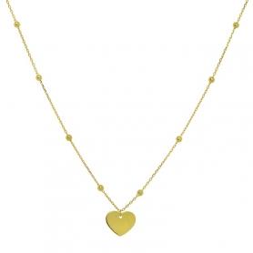 Ασημένιο κολιέ καρδιά χρυσό