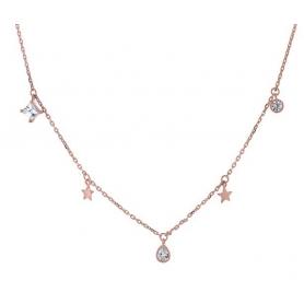 Ασημένιο κολιέ κρεμαστά αστέρια ροζ χρυσό