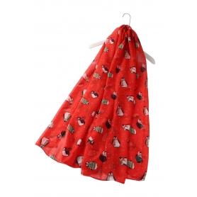 Χριστουγεννιάτικο φουλάρι με πιγκουινάκια κόκκινο