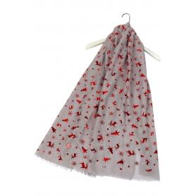Χριστουγεννιάτικο φουλάρι με κόκκινα μεταλλικά μοτίβα γκρι