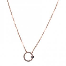 Ασημένιο κολιέ κύκλος με ματάκι καρδιά ροζ χρυσό