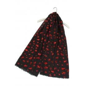 Χριστουγεννιάτικο φουλάρι με κόκκινα μεταλλικά μοτίβα μαύρο
