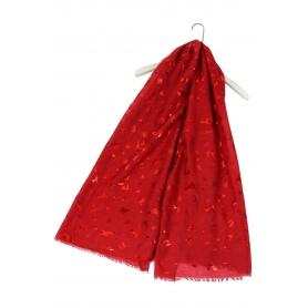 Χριστουγεννιάτικο φουλάρι με κόκκινα μεταλλικά μοτίβα κόκκινο
