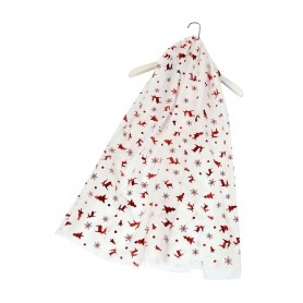 Χριστουγεννιάτικο φουλάρι με κόκκινα μεταλλικά μοτίβα λευκό