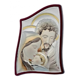 Ασημένια καθολική εικόνα Η Αγία Οικογένεια MA/E904-4C 8 x 11 cm