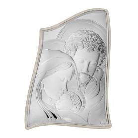 Ασημένια καθολική εικόνα Η Αγία Οικογένεια MA/E904-3ST 15 x 21 cm