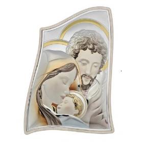 Ασημένια καθολική εικόνα Η Αγία Οικογένεια MA/E904-3ST-C 15 x 21 cm