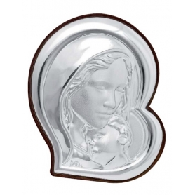 Ασημένια καθολική εικόνα Παναγία με Χριστό MA/E905-3 21 x 24 cm