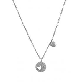 Ασημένιο κολιέ με κύκλο, σχέδιο καρδιά και πέτρες ζιργκόν ασημί