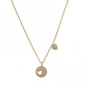 Ασημένιο κολιέ με κύκλο, σχέδιο καρδιά και πέτρες ζιργκόν χρυσό