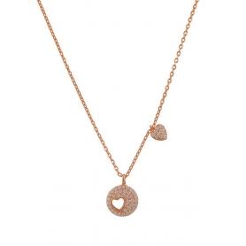 Ασημένιο κολιέ με κύκλο, σχέδιο καρδιά και πέτρες ζιργκόν ροζ χρυσό