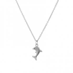 Ασημένιο κολιέ δελφινάκι με πέτρες ζιργκόν ασημί