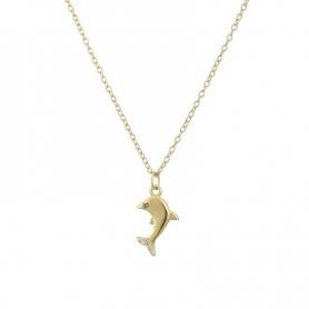 Ασημένιο κολιέ δελφινάκι με πέτρες ζιργκόν χρυσό