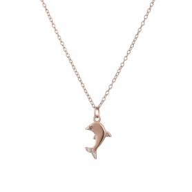 Ασημένιο κολιέ δελφινάκι με πέτρες ζιργκόν ροζ χρυσό