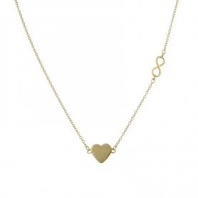 Ασημένιο κολιέ καρδιά με άπειρο χρυσό