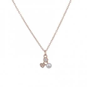 Ασημένιο κολιέ με πέτρες ζιργκόν και πέρλα ροζ χρυσό