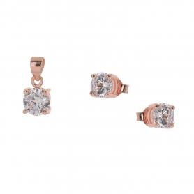 Ασημένιο σετ μονόπετρο μενταγιόν, αλυσίδα και σκουλαρίκια με λευκά ζιργκον 0,60 cm ροζ χρυσό