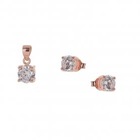 Ασημένιο σετ μονόπετρο μενταγιόν, αλυσίδα και σκουλαρίκια με λευκά ζιργκον 0,40 cm ροζ χρυσό