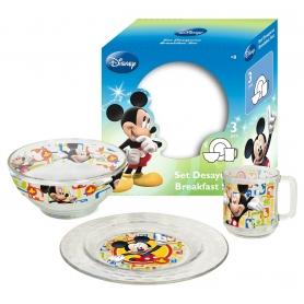 Γυάλινο παιδικό σετ φαγητού Disney Mikey
