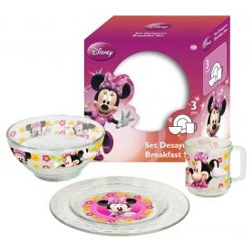 Γυάλινο παιδικό σετ φαγητού Disney Minnie