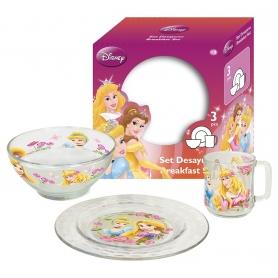 Γυάλινο παιδικό σετ φαγητού Disney Princess