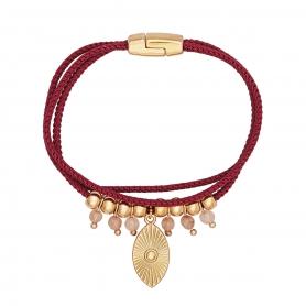 Χειροποίητο βραχιόλι σε ροζ χρυσό χρώμα με μεταλλικό μοτίφ, χάντρες και κρυσταλλάκια 02-26-59