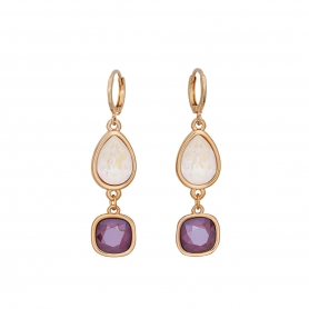 Kρίκοι σε ροζ χρυσό με κρεμαστά στοιχεία και κρύσταλλα Swarovski 02-57-12