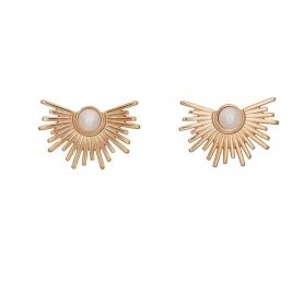Χειροποίητα σκουλαρίκια σε ροζ χρυσό χρώμα με πέρλα στο κέντρο 02-17-96
