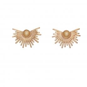 Χειροποίητα σκουλαρίκια σε ροζ χρυσό, με πέρλα στο κέντρο σε μπέζ χρυσό χρώμα 02-19-96