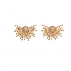 Χειροποίητα σκουλαρίκια σε ροζ χρυσό χρώμα με πέρλα στο κέντρο σε μπέζ απόχρωση 02-20-96